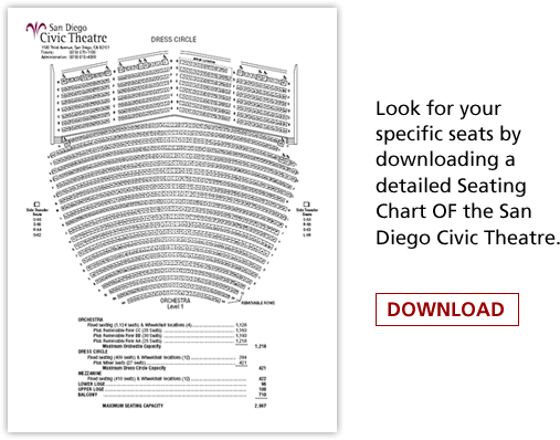 San go Civic Theatre - Broadway San go San Go Civic Theater Seating Map on symphony orchestra seating, petco park seating, van andel arena seating,