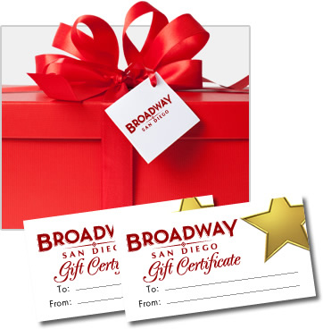 Gift certificates broadway san diego gift certificates can be used for any single ticket purchase to any broadwaysan diego production toward a group sale purchase or toward the purchase of negle Choice Image
